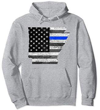 Police Thin Blue Line Arkansas USA Flag Map Hoodie