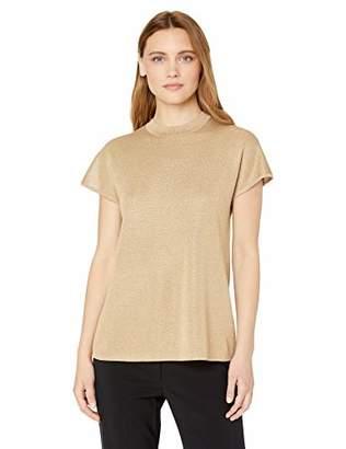 Anne Klein Women's Mock Neck Short Sleeve Sweater