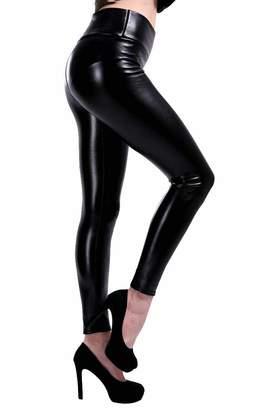 d7bdb3dd55e Hajotrawa Womens Trousers All-Match Faux Leather High Waist Slim Legging XXS