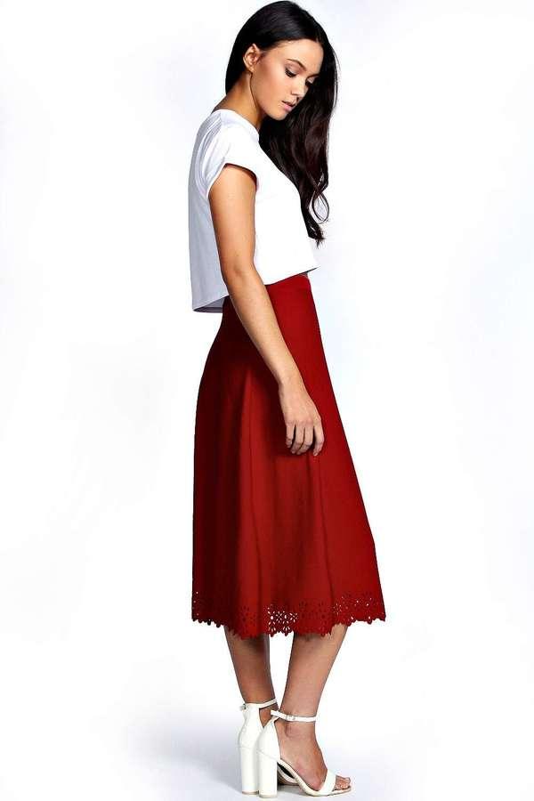 boohoo Sheena Laser Cut Full Circle Midi Skirt
