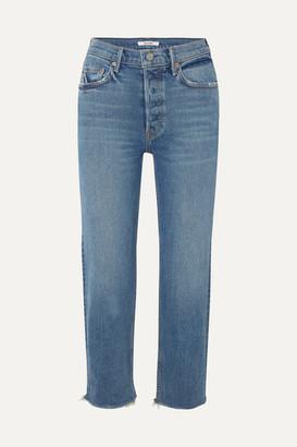 GRLFRND Helena Cropped Distressed Mid-rise Straight-leg Jeans - Mid denim