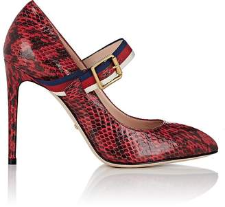 Gucci Women's Buckle-Strap Snakeskin Pumps