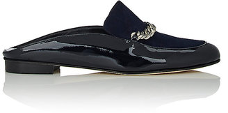 Barneys New York Women's Chain-Strap Mules-NAVY $225 thestylecure.com