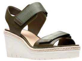 Clarks Artisan Palm Shine Leather Wedge Sandals