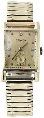 One Kings Lane Vintage Gruen Curvex Gold Watch - Owl's Roost Antiques