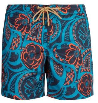 Thorsun - Titan Fit Tattoo Floral Print Swim Shorts - Mens - Blue Multi
