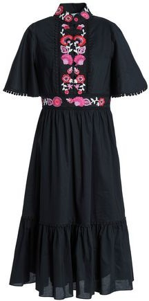 Embroidered Cotton-Poplin Midi Dress