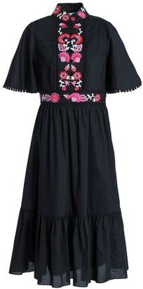 Kate Spade Embroidered Cotton-poplin Midi Dress