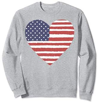 American Flag Heart Stars And Stripes Graphic Sweatshirt