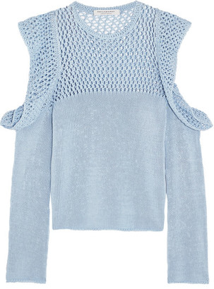 Philosophy di Lorenzo Serafini - Cutout Open-knit Cotton Sweater - Blue $590 thestylecure.com