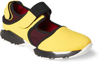 Marni Yellow & Black Neoprene & Mesh Cutout Sneakers