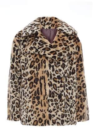 Quiz Stone and Black Faux Fur Leopard Print Jacket