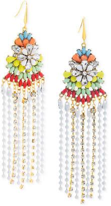 Steve Madden Two-Tone Multi-Stone Flower & Fringe Chandelier Earrings