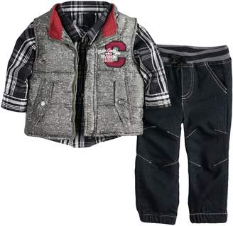 Nannette Baby Boy Vest, Plaid Shirt & Pants Set