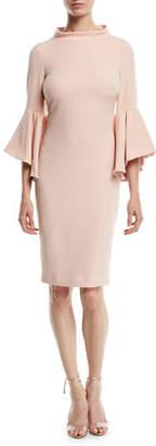 Badgley Mischka Bell-Sleeve Faille Cocktail Dress