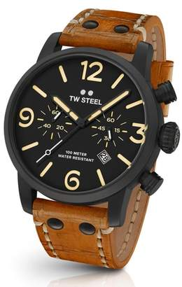 TW Steel Maverick Chronograph Leather Strap Watch, 45mm