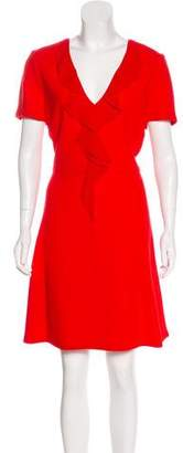 Christian Dior Silk-Trimmed Wool Dress
