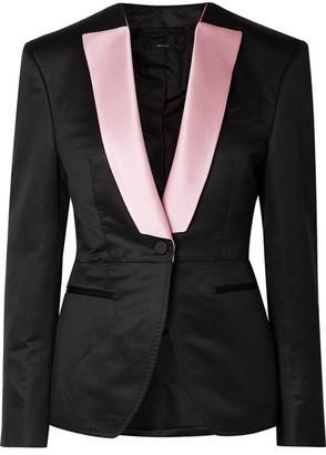 Tom Ford Silk Satin-trimmed Wool-faille Blazer - Black
