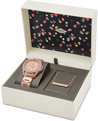 Fossil Women's Riley Rose Gold-Tone Stainless Steel Bracelet Watch & Necklace Box Set 38mm ES4138SET, First at Macy's $155 thestylecure.com