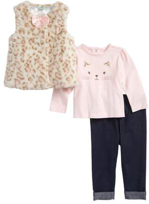 Little Me Leopard Faux Fur Vest, Tee & Leggings Set