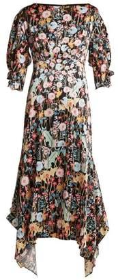 Peter Pilotto Dandelion Print Silk Dress - Womens - Multi