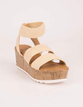 Wild Diva Raffia Cork Wedge Natural Womens Sandals