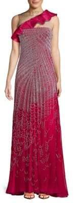 Valentino Ruffle Silk Floor-Length Gown