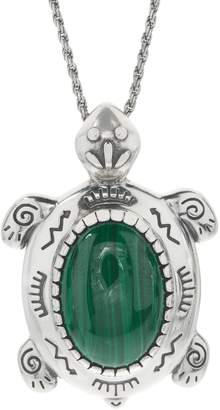 American West Oval Malachite Turtle Sterling Silver Enhancer
