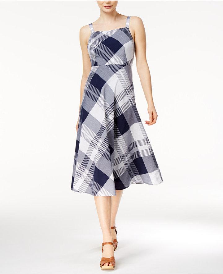 Maison Jules Plaid Midi Dress, Only at Macy's