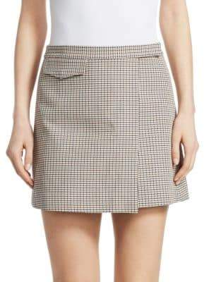 Theory Wool-Blend Plaid Mini Wrap Skirt