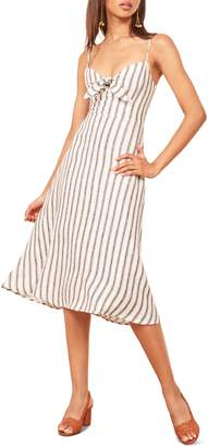 Reformation Clara Ticking Stripe Linen Sundress