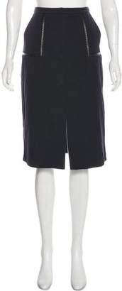 Jaeger Leather-Trimmed Pencil Skirt
