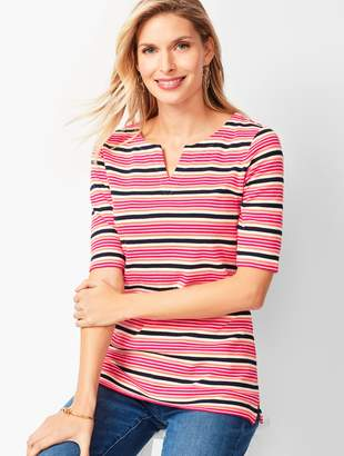 Talbots Cotton Split-Neck Tee - Multi-Stripe