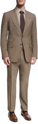 Tom Ford Shelton Base Melange Wool-Silk Peak-Lapel Two-Piece Suit, Brown