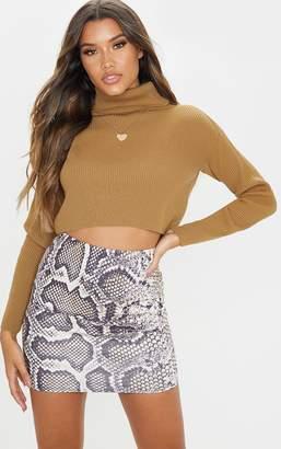 PrettyLittleThing Grey Scuba Snake Print Mini Skirt