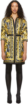 Versace Black and Gold Silk Belted Tribute Dress