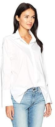 NYDJ Women's Cotton Poplin Bell Sleeve Blouse