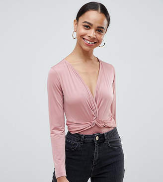 Asos Design Petite Body With Long Sleeves And Knot Front Plunge