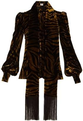 HILLIER BARTLEY Zebra-print fringe-trimmed velvet blouse