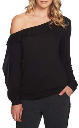 1 STATE 1.STATE Cozy One-Shoulder Ruffle Top