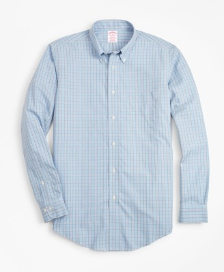 Brooks Brothers Non-Iron Madison Fit Blue Check Sport Shirt