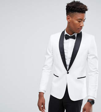 Asos DESIGN Tall slim tuxedo suit jacket in white with black contrast lapel