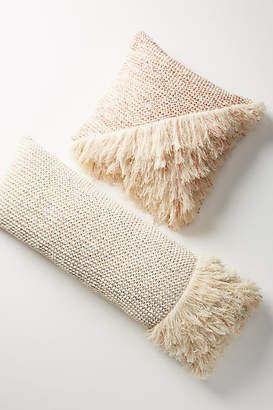 Anthropologie Fringed Waffleknit Pillow