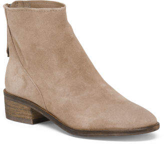 Suede Stacked Heel High Ankle Booties