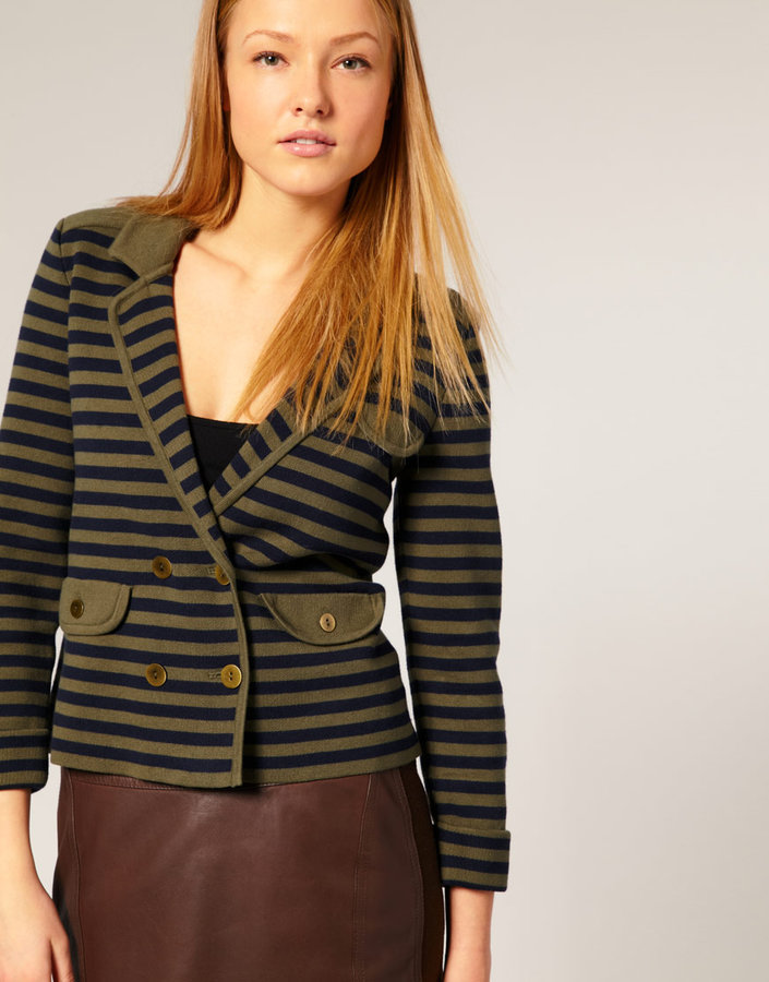Whistles Susanna Stripe Knitted Jacket