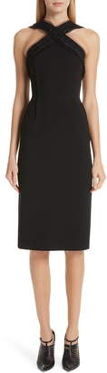 Jason Wu Collection Compact Crepe Ruffle Trim Dress