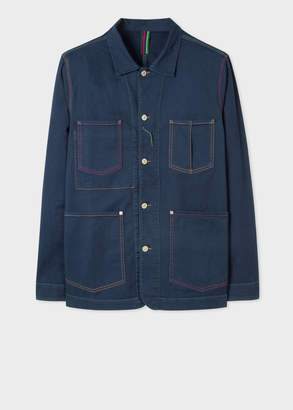 Paul Smith Men's Navy Denim Stretch-Cotton Chore Jacket With Multi-Colour Stitching