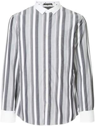 Loveless contrast collar striped shirt