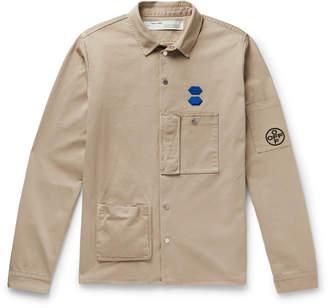 Off-White Off White Appliqued Cotton Shirt Jacket - Men - Neutrals