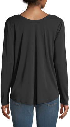 Kensie Long-Sleeve Bow-Neck Modal Jersey Top